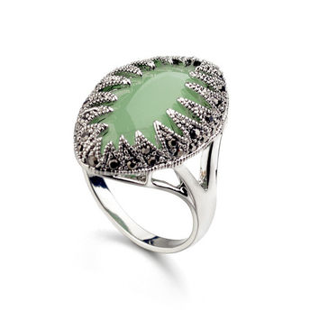 Real Austrian Crystals Classic Vintage pattern agate Silver Fashion Rings For women New 10350Green