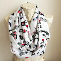 Hello Pattern White Scarf , Love Pattern İnfinity Scarf , Snowflake Print İnfinity Scarf