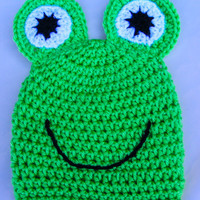 Crochet Frog Hat 0-3 Month Baby Animal Hat Perfect Newborn Photo Prop Halloween Costume Critter Hat Kermit The Frog Inspired Boy/Girl Beanie