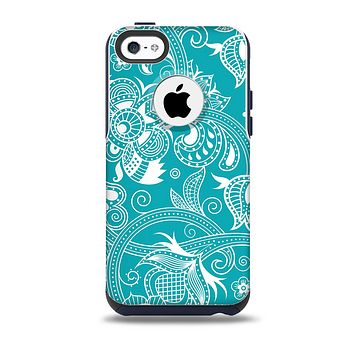 The Turquoise Fancy White Floral Design Skin for the iPhone 5c OtterBox Commuter Case