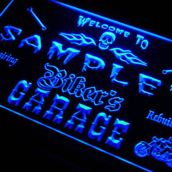 Personalized Custom Biker's Garage Motorcycle Repair Bar Neon Sign On/Off Switch 7 Colors