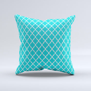 Morocan Teal Pattern Ink-Fuzed Decorative Throw Pillow