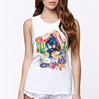 Element Flower Muscle Tank Top - Womens Tee - White