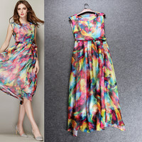 Printed  Sleeveless Empire Waist A-Line Swing Maxi Chiffon Dress