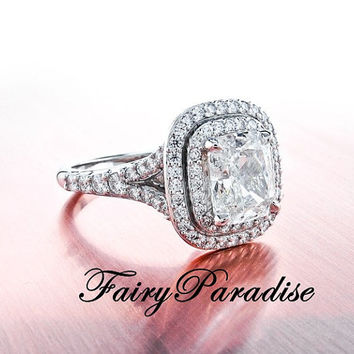 Art Deco 2 Ct  Rectangle Cushion Cut Lab Made Diamond  Tiffany Inspired Double Halo set Split Shank Engagement Wedding Promise Cocktail Ring