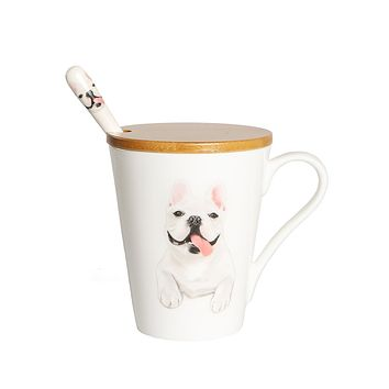 Frenchie China Water Cup with bamboo lid and spoon