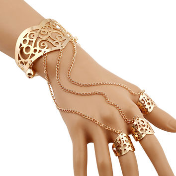 Cuff bracelet with Attached Rings Egyptian Antique Look for a Goddess