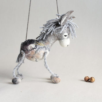 Serafim - Felt Donkey. Art Toy. Felted Toys Marionette Animals Felt Toy. grey gray. MADE TO ORDER