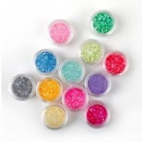 12 Colors Boxed Crushed Shell powder Nail Art Tip Decoration