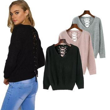 Winter Women's Fashion Hollow Out Sexy Sweater [31068389402]