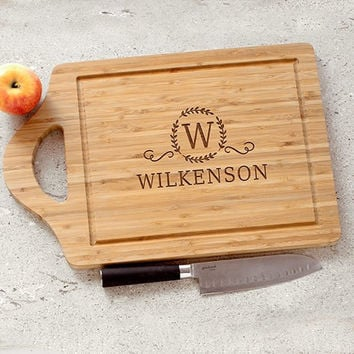 "Personalized Bamboo Cutting Board. Large 18"". Cheese Board on Other Side"