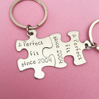 A perfect fit since Couples Gift Date Keychains Anniversary Date Year Established , Anniversary Gift