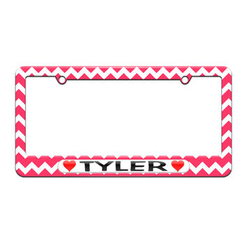 Tyler Love with Hearts - License Plate Tag Frame - Pink Chevrons Design