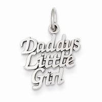 14k White Gold Daddys Litte Girl Charm Pendant