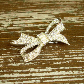Vintage Rhinestone Brooch: Silver Tone Bow Ribbon Crystal Pin, Pave Bow Pin, Bridal Wedding Jewelry Accessory, Estate Costume Jewelry