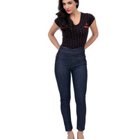Indigo High Waisted Stretch Denim Pants