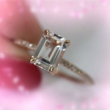 6x8mm Emerald Cut Morganite Ring 14K Rose Gold SI/H Diamonds Engagement Wedding Ring   Anniversary Ring