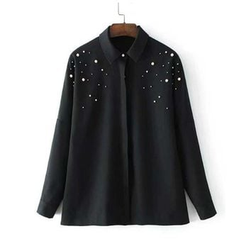 Women Beading Pearls Shirts  Collar Black Blouse Long Sleeve Female Casual Office Wear Tops
