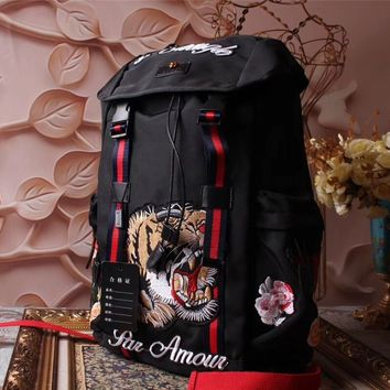 GUCCI EMBROIDERY CANVAS TECHPACK BACKPACK BAG