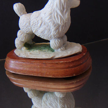 White Poodle Figurine Wooden Base Collectible Home Decor
