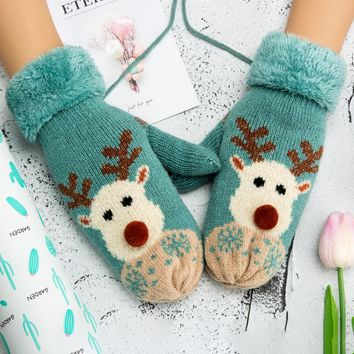 Winter Women Mittens Thicken Knitted Gloves Winter Gloves For Girl Christmas Deer Pattern Lanyard Warm Female Mittens