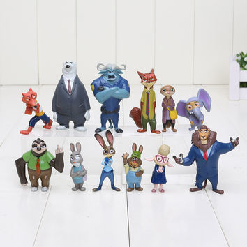 (Free Shipping) 12pcs/lot 4-7cm new Movie Zootopia Cartoon Utopia Action Figure Movie Pvc Mini Models Nick Fox Judy Rabbit