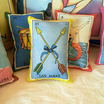 Jaras Arrows Mexican Loteria Mini Pillow with Lavender, Tuck Pillow or Bowl Filler - Christmas / Dia De Los Muertos / Day of the