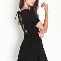Ruched Lace Up Skater Dress