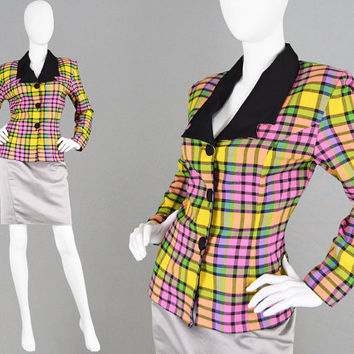Vintage 80s Plaid Jacket Vivid Pink & Green Check Jacket Fitted Blazer Tailored Jacket Black Lapels 1980s Jacket Shoulder Pad Tartan Jacket