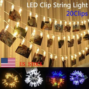 Led 20 Photo Clip String Lights Battery USB Operated Christmas Home Decoration