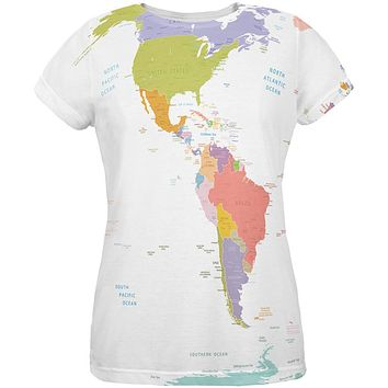 World Traveler Global Map All Over Womens T-Shirt