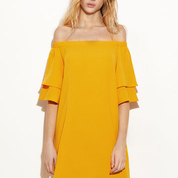 Yellow Layered Bell Sleeve Off The Shoulder Dress