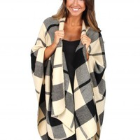 Out Of The Woods Ivory And Black Plaid Poncho   Monday Dress Boutique