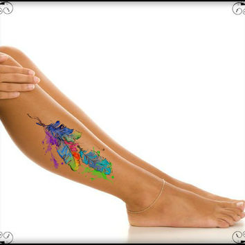 Temporary Tattoo Feathers Waterproof Fake Tattoos Thin Durable