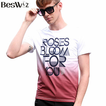 New T-shirts Men Short Sleeve O Neck Young Gradient Printing Men Tops Tees Shirts Men Cotton Casual T Shirts Brand Clothing