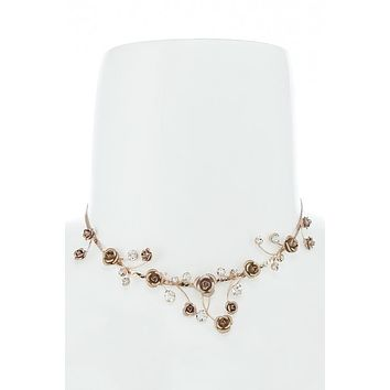 Vintage Faux Pearl & Rose Gold Floral Wedding Choker Necklace