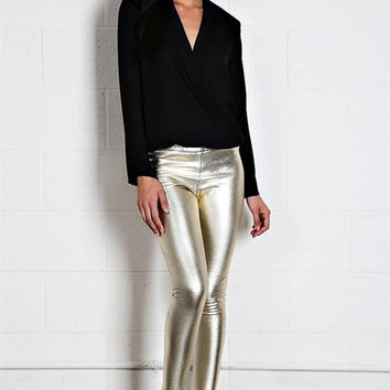 Metallic Skinny Leggings