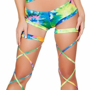 Roma USA Dance Rave Wear Printed Low Ride Shorts