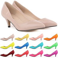 Pointed 2.36inch Heel Shallow Patent Leather Shoes