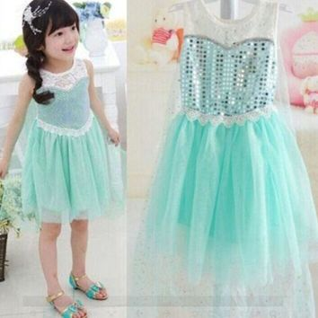 Little Girls Dress Kid's Halloween Elsa Inspired Costume Dress Cosplay Party Dresses 3 4 5 6 7 8T