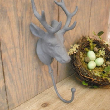 Deer Hook Antlers . Cast Iron Deer . Stag Wall Hook .. Bath Towel Hook Coat . Leash Hook ..Den Wall Hook .. Mancave Hunting Wall Hook
