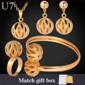 U7 Unique Design Ball Pendant Set Wholesale Gold/Silver Color Trendy Party Bridal Jewelry Sets For Women S579