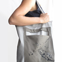 Hand Painted Dragonfly Gray Tote Bag
