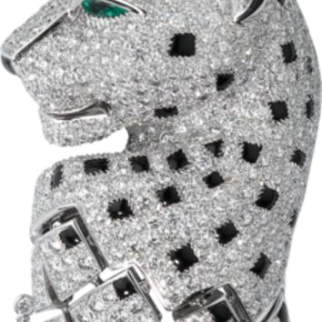 Panthère de Cartier necklace: Necklace - 18K white gold, 8 emeralds, 1,359 brilliant-cut diamonds totaling 18.04 carats, onyx.