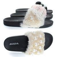 Eyeball Beige By Soda, Pearl Faux Marabou Fur Slide Flip Flop Sandal, Furry Open Toe Flat Slipper