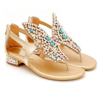 Zmart Women's Leather Crystal Flat Sandals