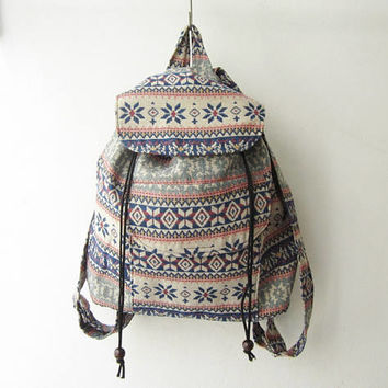 coachella rucksack, boho backpack,tribal backpack, ikat bohemian school bag, native american bag, hippie gypsy backpack,bag gift idea, -b048