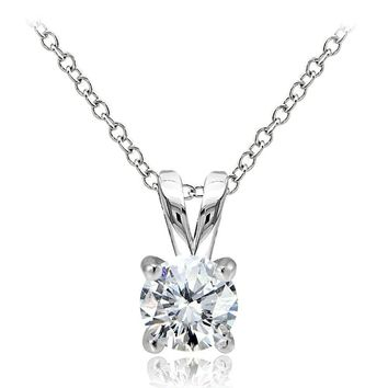 925 Sterling Silver 1ct Cubic Zirconia 6.5mm Round Solitaire Necklace