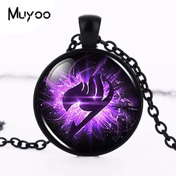 Anime Fairy Tail Guild Marks Purple Wing Pendant Steampunk Necklace dr who 1pcs/lot alice in wonderland jewelry men vintage HZ1