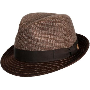 Landon Tweed Panel Fedora by Mayser